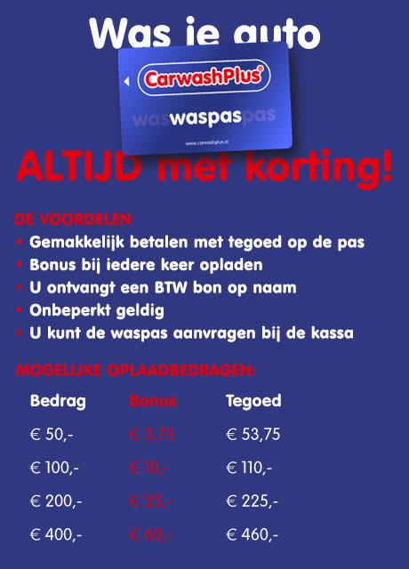 CarwashPlus Haarlem Prepaid Waspas